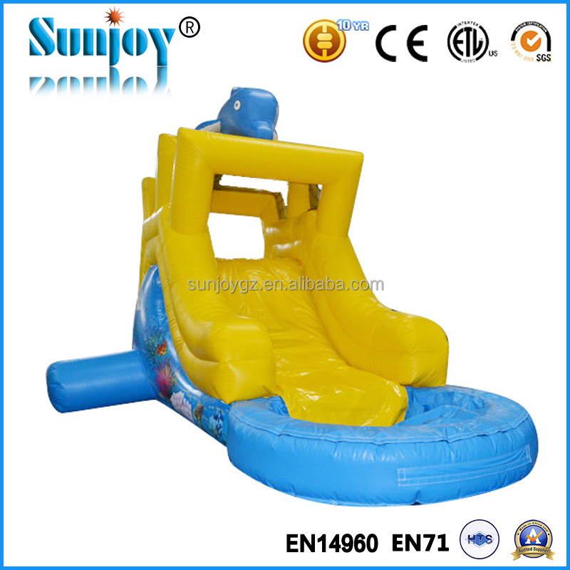 Indoor inflatable water slide for kids and adults, amusement customized dolphin water slide inflatable kids indoor slide