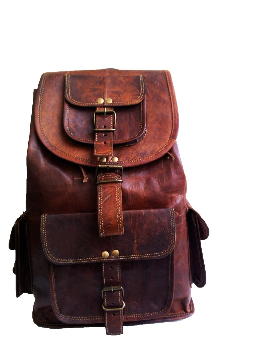Get Quotations 16 Genuine Leather Retro Rucksack Backpack College Bag School Picnic Travel