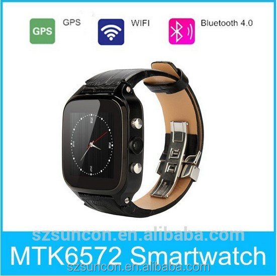 Manufactory OEM GPS WIFI Bluetooth Android4.4 GSM 3G big screen watch phone