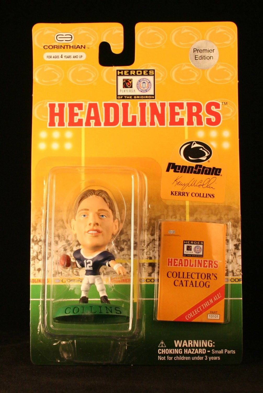 KERRY COLLINS / PENN STATE UNIVERSITY NITTANY LIONS * 3 INCH * 1996 NFL Heroes of the Gridiron * Premier Edition * Headliners Football Collector Figure