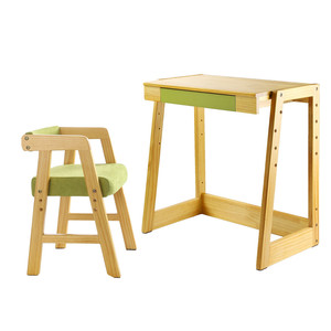 Children's desk kids solid wooden student writing study table chair with drawer