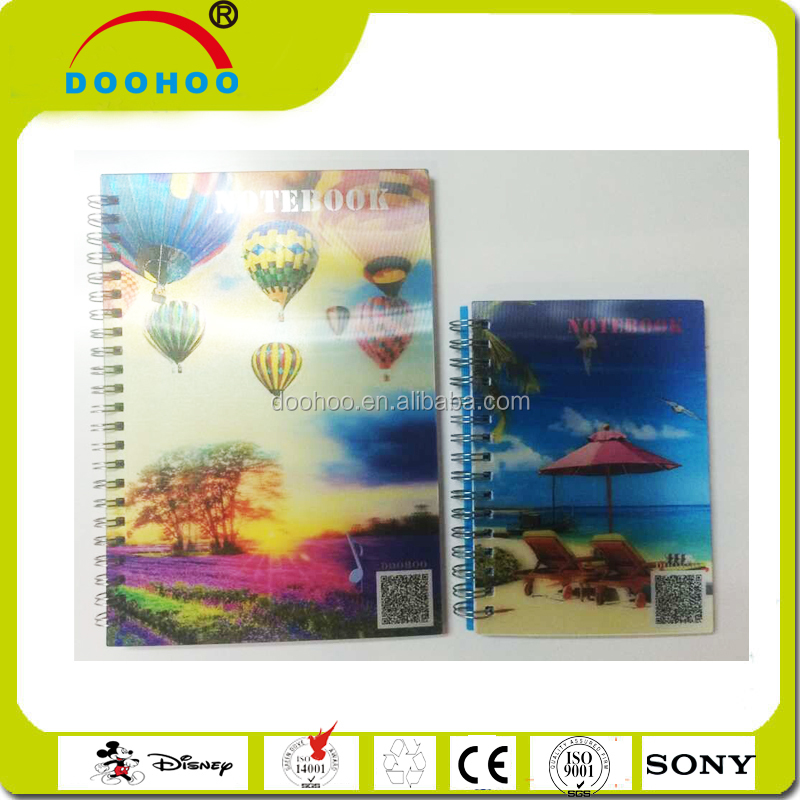 promotional advertising 80 pages model 3d lenticular plastic notebook with 80gsm white paper inside