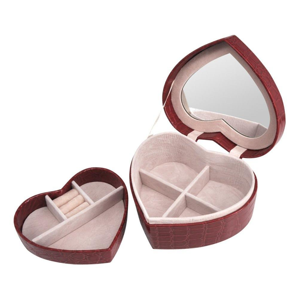 Hot Sale Heart-Shaped Pu Leather Crocodile Grain Small Travel Jewelry Box With Small Mirrored