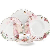 Factory supply beautiful wedding dinnerware 20pcs crockery glazed royal porcelain dinner set