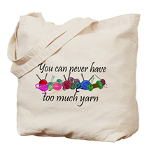 Custom Natural Canvas Knitting Tote Bag For Yarn Storage