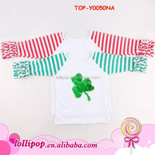 St. Patrick ' s Day Carnival Patriotic Green Striped Great Flare Shamrock Raglan Tee With Ruffled Sleeves