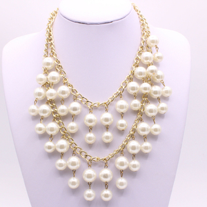 2018 Hot selling bridal big pearl jewelry artificial statement necklace sweater pearl 2 layered chunky necklace for women party