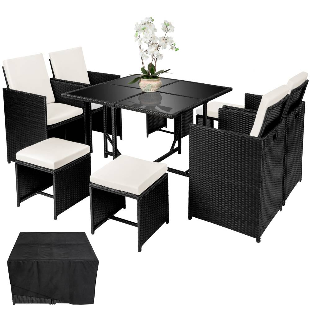 Patio Set 4 Seater Outdoor Rattan Effect Cube Garden Furniture Table Rlf 17d 008
