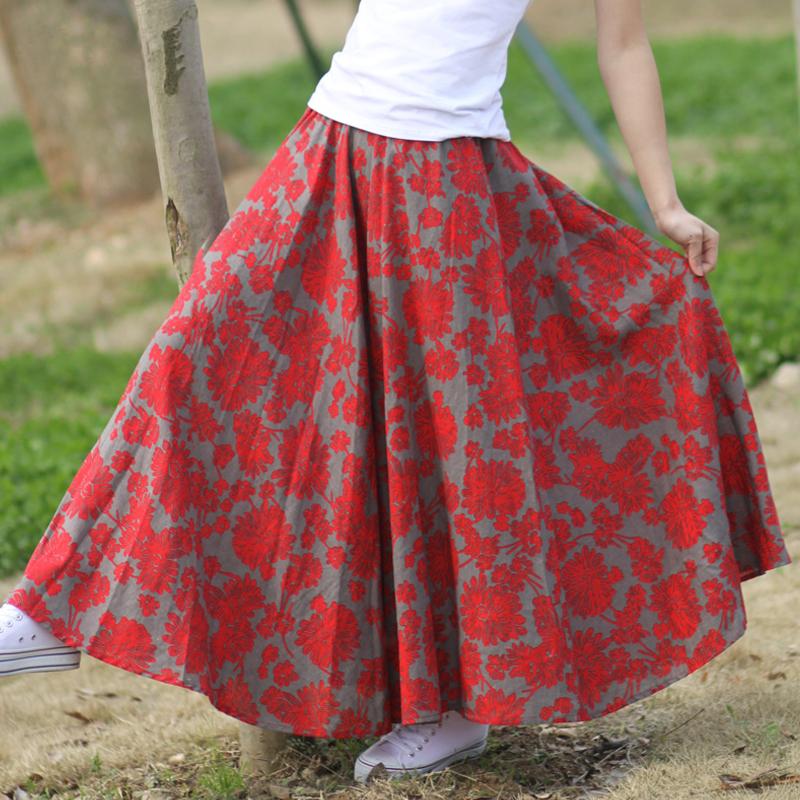 2015 чешский стиль женского цветочные печатных свободного покроя долго белье юбки дамы лето ретро пастельных цветов макси юбки-line