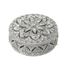 jeweled metal trinket boxes for wedding Round shape Pewter Alloy hand made metal jewelry box