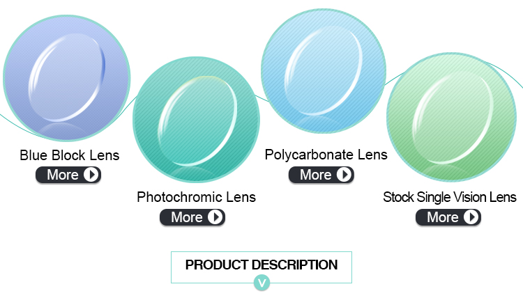 High index 1.61 Asp anti blue ray stock optical lens with HMC/SHMC coating