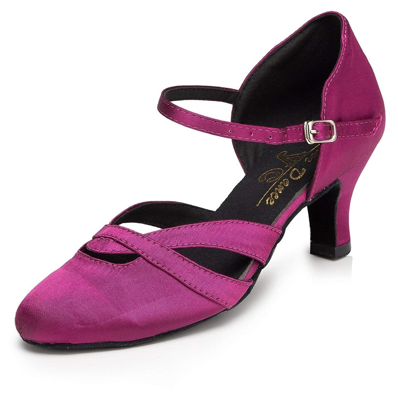 Miyoopark Women's Low Heel Satin Latin Dance Shoes