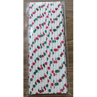 Green and red dots paper straws Christmas design for party