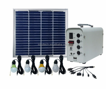 Mini 20w Solar Lighting Kit For Indoor 12v Led System With 4 Bulbs