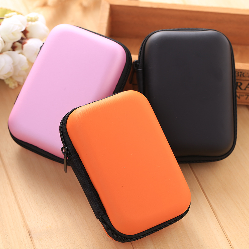 free sample square shape data cable and earphone eva travel case