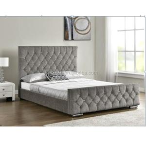 new arrival bcf96 c8a1d Modern High Diamond Headboard Velvet Fabric Platform Beds With Wooden Slats  Y
