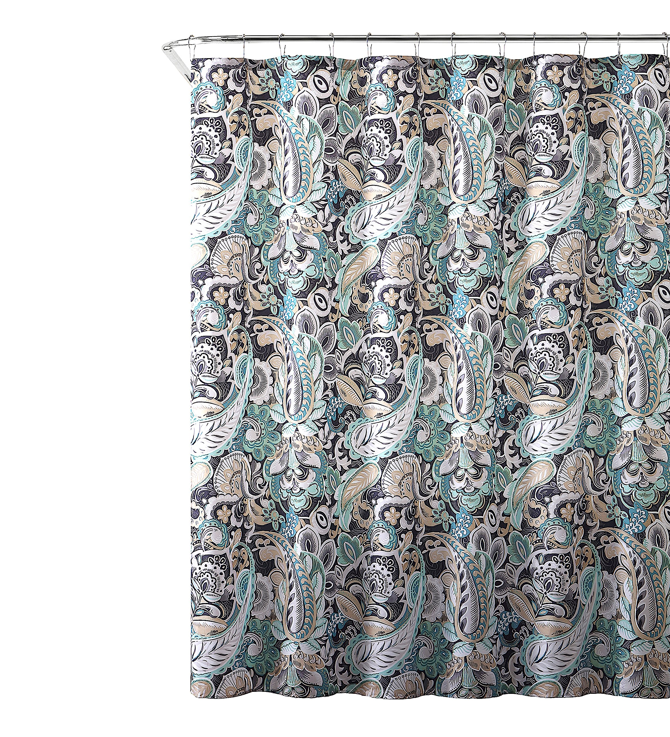 Semi Sheer Fabric Shower Curtain Blush And Off White Floral