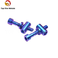 M5*30mm Blue Bike Seat Post Fixed Bolts Titanium Bicycle Saddle Fixed Screw Bolts Nuts Washers