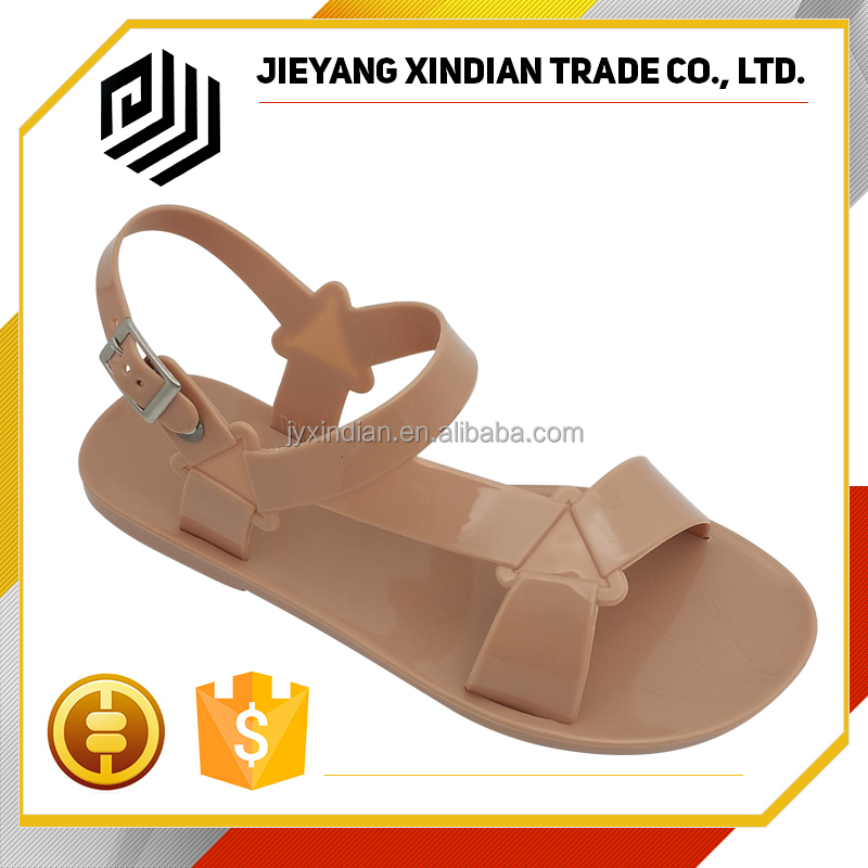 Fashion girl Beach Solid Flat ladies jelly sandals flat pvc shoes for women