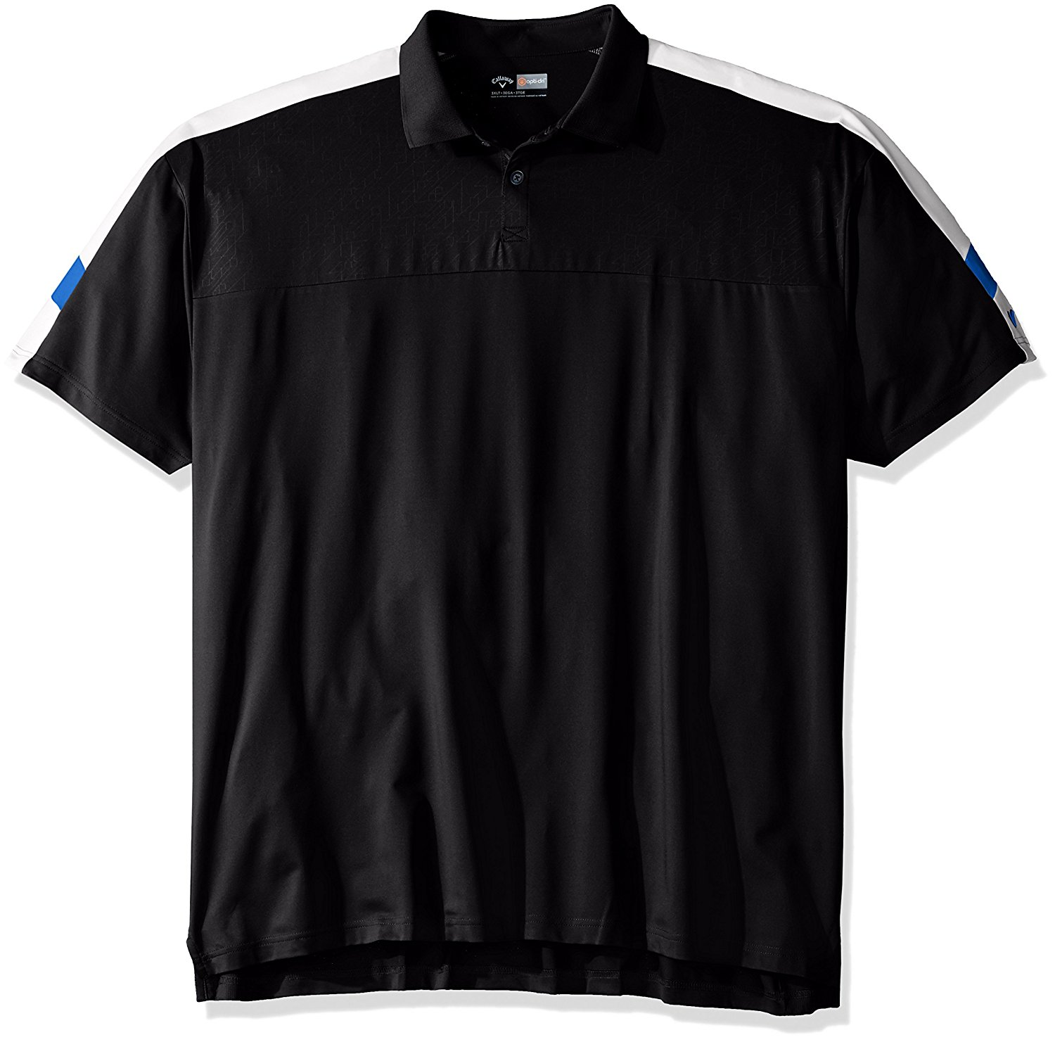 Callaway Men's Big & Tall Golf Performance Short Sleeve Embossed Three Color Blocked Polo Shirt