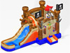 High quality PVC Pirate Ship Theme Moonwalk combo, inflatale wet & dry bouncer slide combo