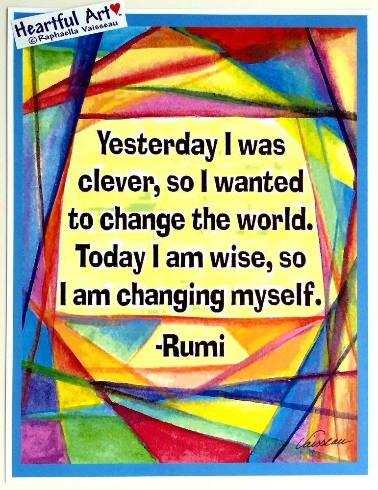 Yesterday I was clever 8x11 Rumi poster - Heartful Art by Raphaella Vaisseau