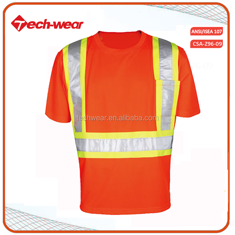 Wholesale High Visibility reflective tape safety polo t shirt running