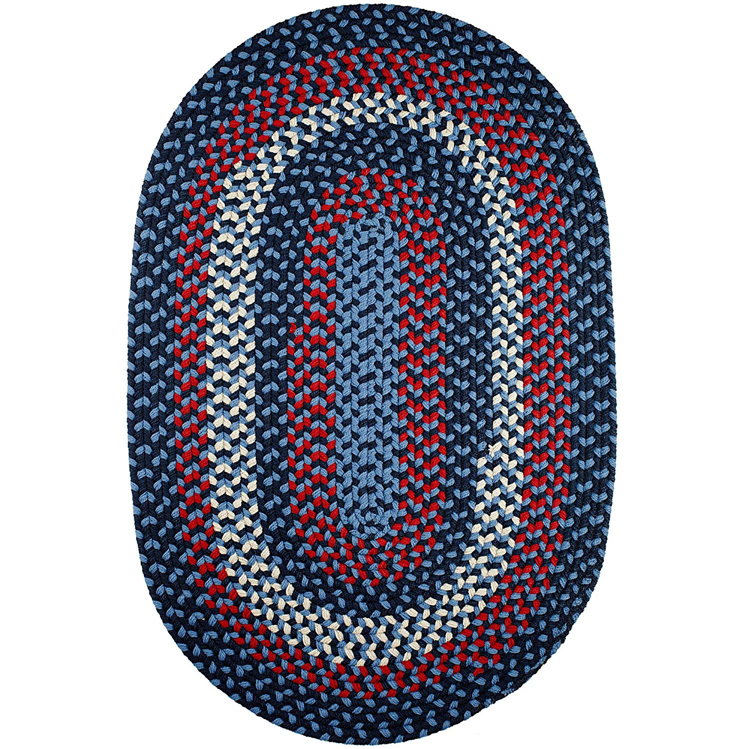 Super Area Rugs Homespun Braided Rug Indoor Outdoor Rug Textured Durable Blue Patio Deck Carpet, 3' X 5' Oval