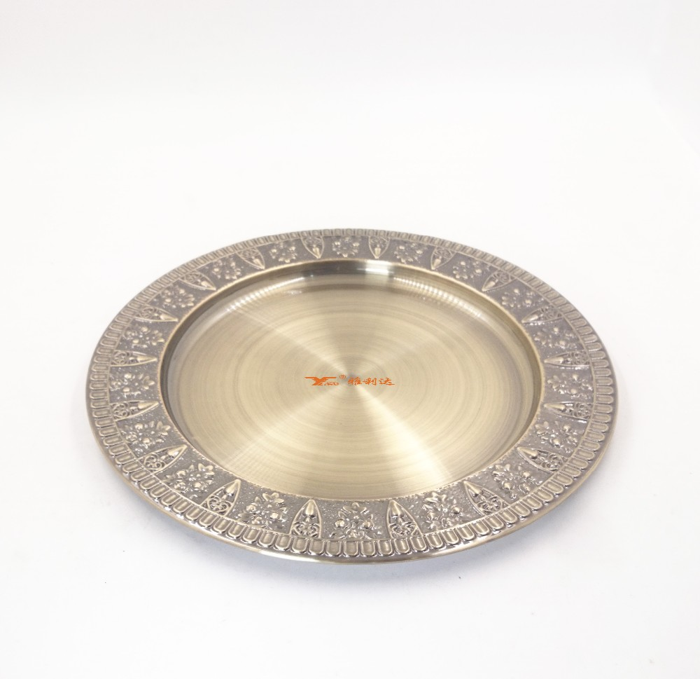 High Quality Beautiful stainless steel Gold Wedding Decoration Charge <strong>Plate</strong>