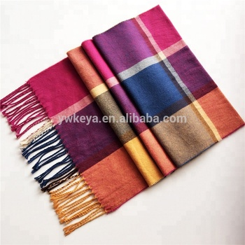 Hot selling fashion cashmere feeling lady pashmina plaid acrylic scarf with 112 colors for choice