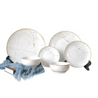 Round white marble popular ceramic dinnerware set, diner set dinnerware