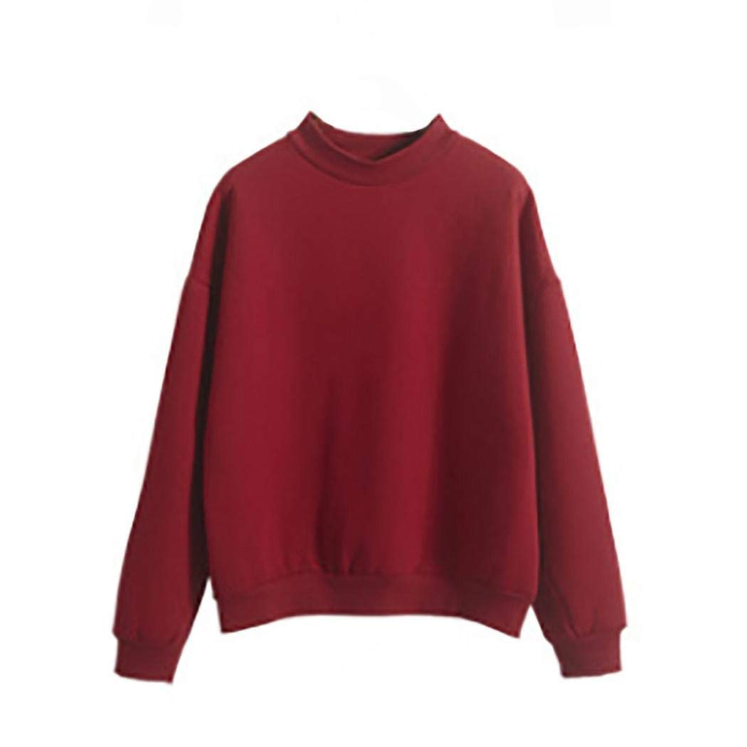 Clearance! Women Girl Long Sleeve Solid Sweatshirt Daoroka Ladies Long Sleeve O-Neck Crop Jumper Suede Pullover Tops Autumn Winter Warm Fashion Causal Loose Cute Blouse T Shirt
