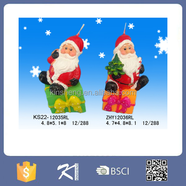 2015 new product good quality christmas santa claus candle decoration