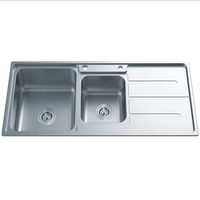 Hot sale above conter flume welding kitchen sink with drainboard