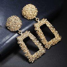 Винтажные серьги для женщин, серьги золотого цвета с геометрическим узором, 2018 текстурные металлические серьги-капельки, модные украшения(Китай)