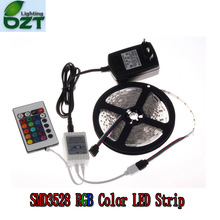 RGB LED Strip 5M 300Led 3528 SMD + 24Key IR Remote Controller+12V 2A Power Adapter Flexible Light Led Tape Home Decoration Lamps