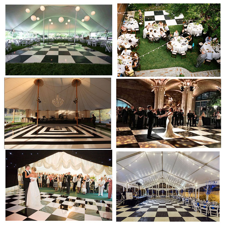 Pista da ballo in legno galateo danza tendone pavimento di piastrelle in bianco e nero pista da ballo