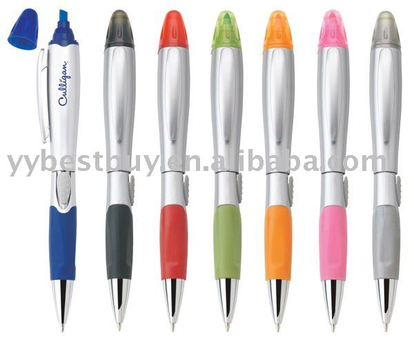 plastic ball pen with highlighter for promotion