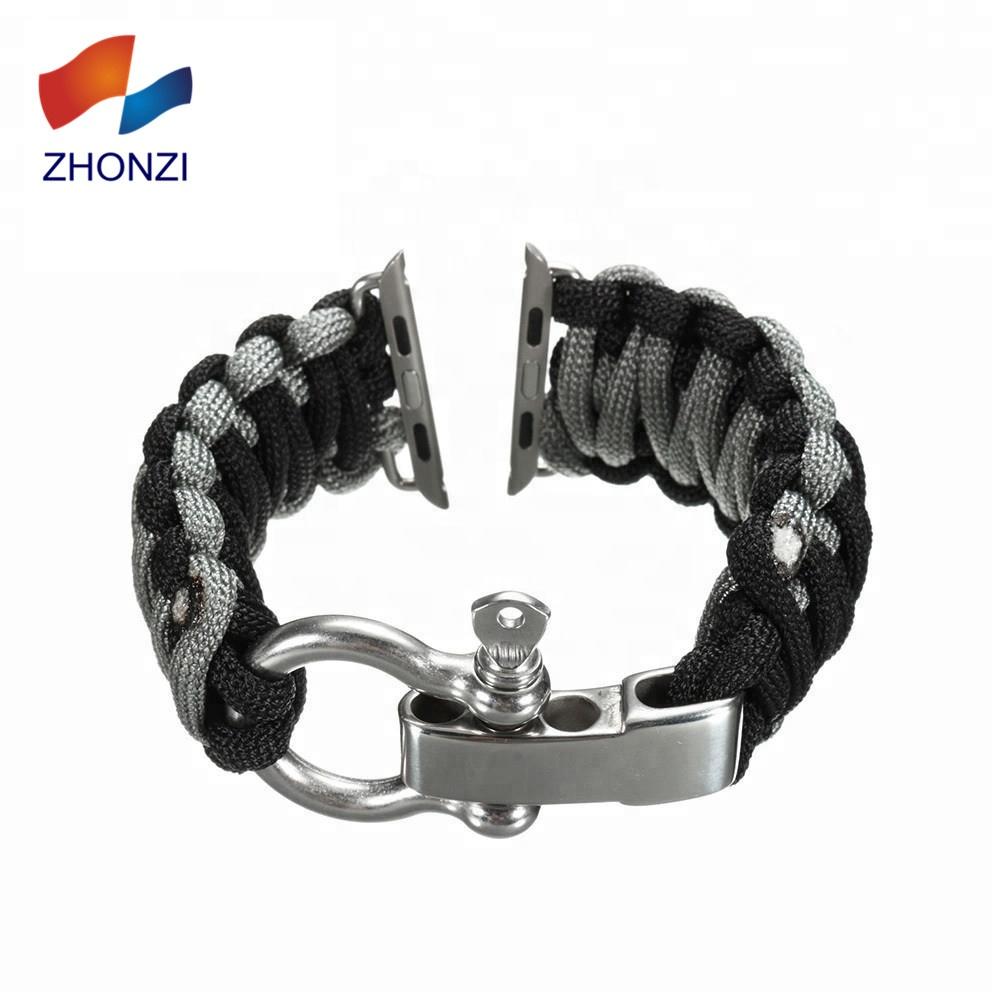 Durable Adjustable Custom 38mm 42mm Paracord WatchBand Wrist Strap Bracelet Outdoor Survival Wrist Strap Paracord Apple Watch, 240 colors