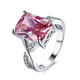 Fashion Rings Jewelry Women Chunky Big Square CZ Stone Pink Rouse Engagement Ring