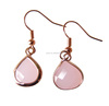 Fashion Pink Crystal Teardrop Hoop Earrings