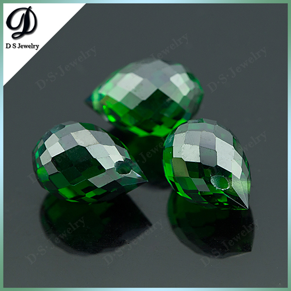 Online Jewelry Shop Best Selling Gemstone CZ Faceted Tear Drop Synthetic Emerald For Sale
