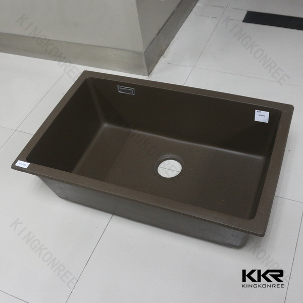 Built-in drainboard composite artificial stone kitchen sink
