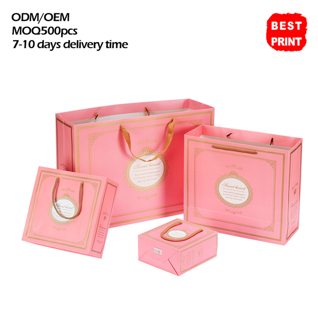 Company Manufacturers Design A Gift Ping Pink Cookies Paper Bag Mockup With Storage Handles Wring