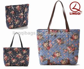 Fashion Elegant Lady Quilted Cotton Fl Handbag