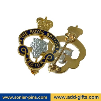 sonier pins hard enamel crown lapel pins letter safety pin