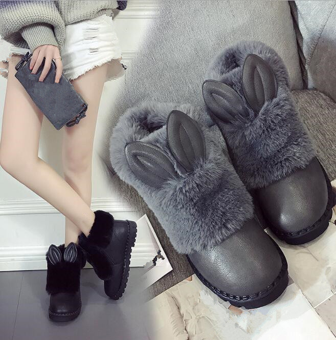 cy10541a 2017 new style women fur ankle snow boots warm ladies winter shoes platform shoes