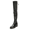 Classical style china factory wholesale nice leather black color flat heels lady knee boot shoes