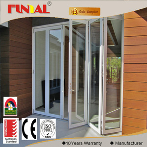 Hot sale new design 4 panel aluminum glass folding door toilet with competitive price