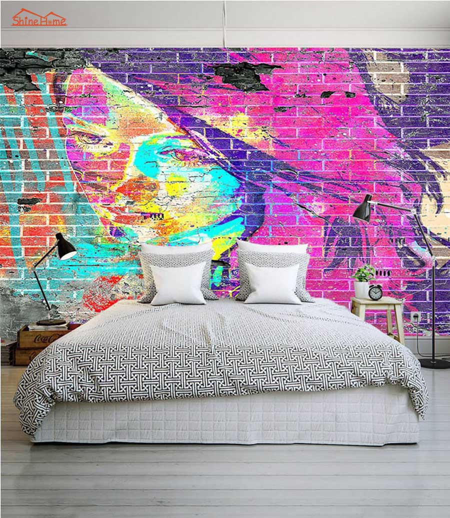 Abstract Graffiti Brick 3D Room Wallpaper Female Face For 3d Livingroom Wall Paper Prints Kids Bedroom Wall Mural Rolls
